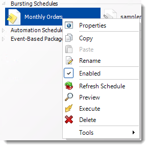 Crystal Reports: Bursting Schedule Context Menu in CRD.