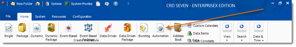 Crystal Reports: CRD Home Menu
