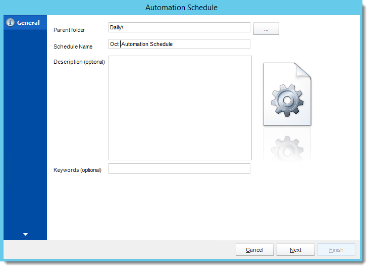 Crystal Reports: General Wizard in Automation Schedule in CRD.