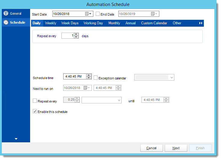 Crystal Reports: Schedule Wizard in Automation Schedule in CRD.