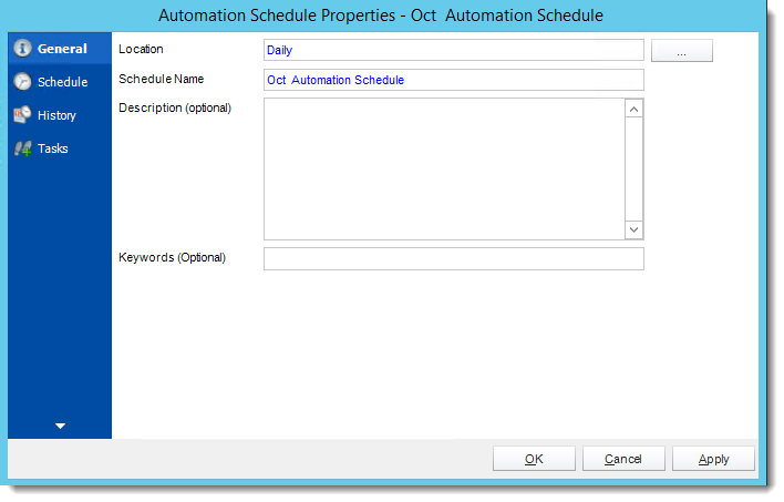 Crystal Reports: Automation Schedule Properties Wizard in CRD.