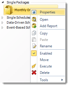 SSRS. Package Report Schedule Context Menu in SQL-RD