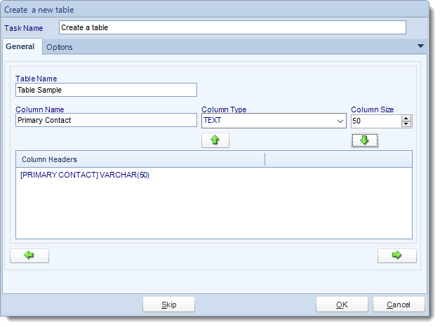 SSRS. Custom Tasks: Create a table in SQL-RD