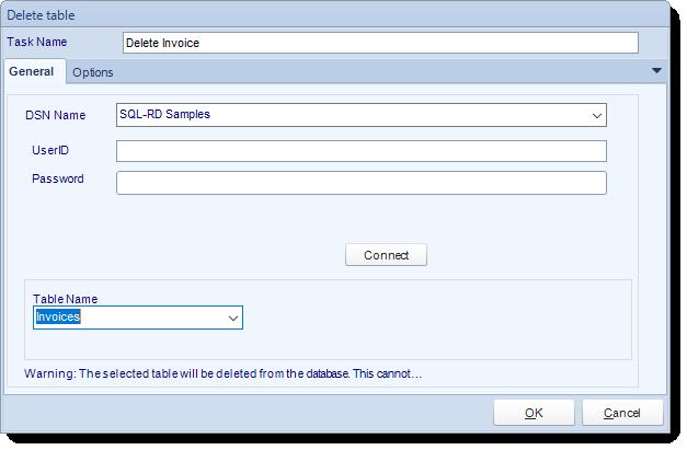 SSRS. Custom Tasks: Delete a table in SQL-RD