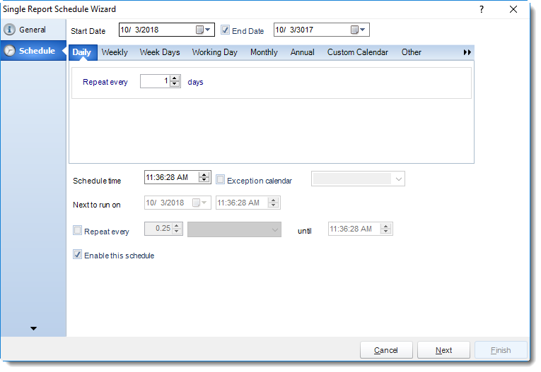 SSRS. Schedule Wizard in Single Report Schedule using SQL-RD.