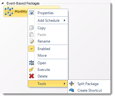 SSRS. Event Based Package Schedule Context Menu in SQL-RD