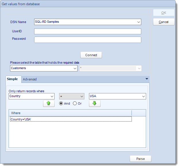 SSRS. Get values from database interface in SQL-RD