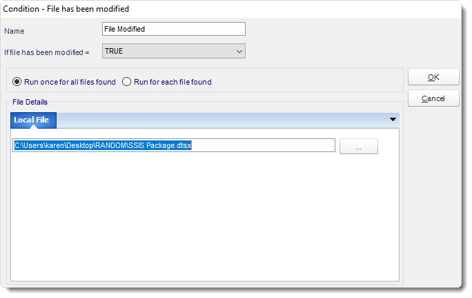 MS Access: File has been modified Condition in MARS.