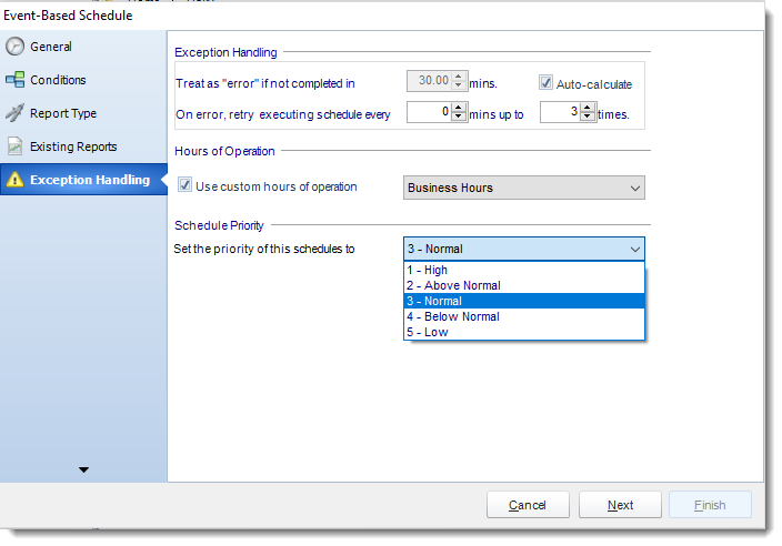 MS Access. Exception Handling Wizard in Event Based Schedule in MARS