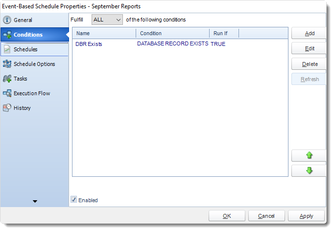 MS Access: Event Based Schedule Properties in MARS.