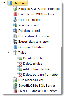 MS Access: Database Tasks in MARS.