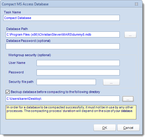 MS Access. Custom Tasks: Compact Database in MARS.