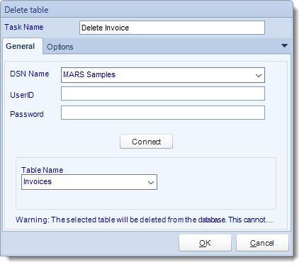 MS Access. Custom Tasks: Delete a table in MARS.