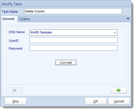 MS Access. Custom Tasks: Delete column from table in MARS.