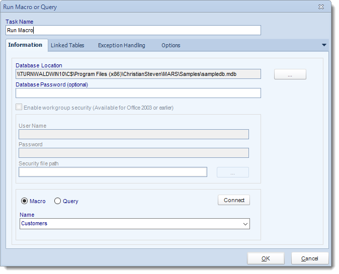 MS Access. Custom Tasks: Run Macro or query in MARS.