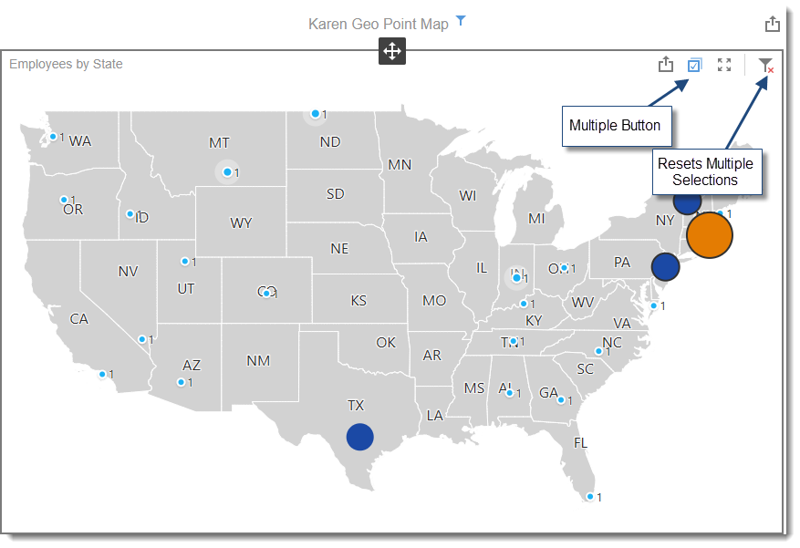 KPI's and Dashboards: Creating Geo Point Map Dashboard item in IntelliFront BI.