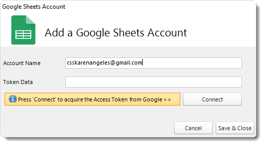 Crystal Reports. Adding a Google Sheets Account in CRD.