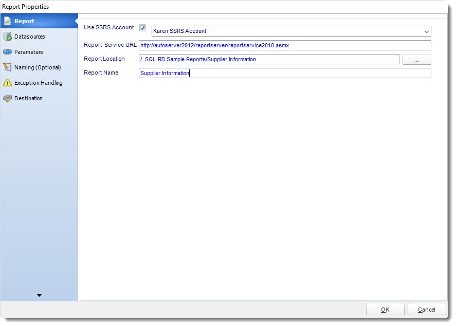 SSRS. Package Report Properties Wizard in SQL-RD.