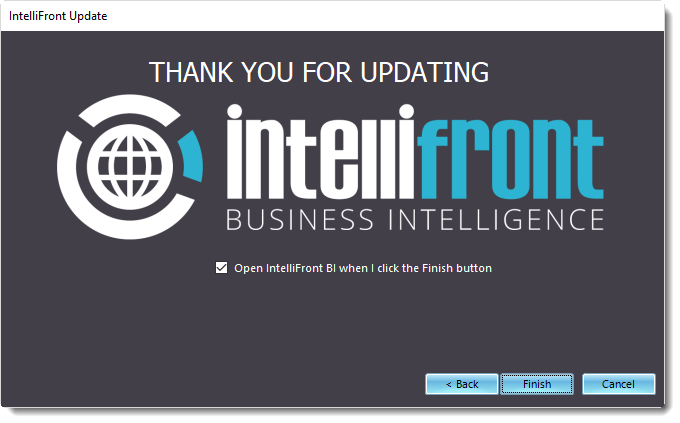 KPI's and Dashboards: Updating IntelliFront BI on your server.