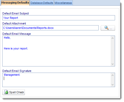 MS Access: User Default section in Options in MARS.