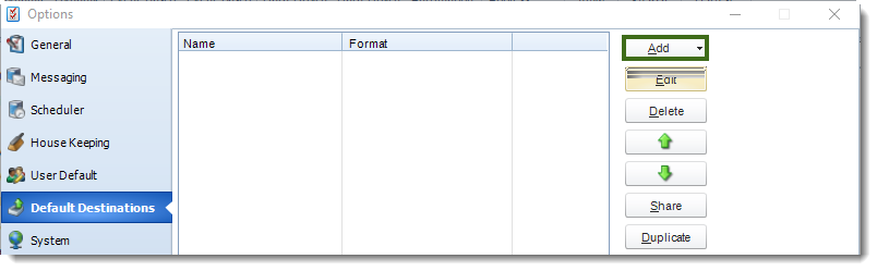 MS Access: Default Destinations section in Options in MARS.