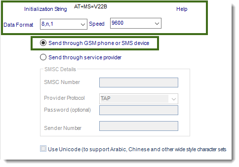 MS Access: SMS Settings section in Options in MARS.
