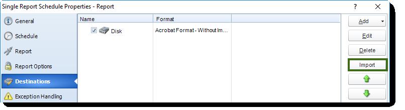 MS Access: Destination Wizard in Single Report Schedule Properties in MARS.