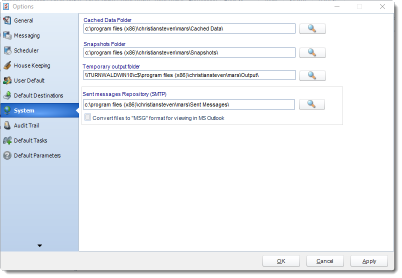 MS Access: System section in Options in MARS.
