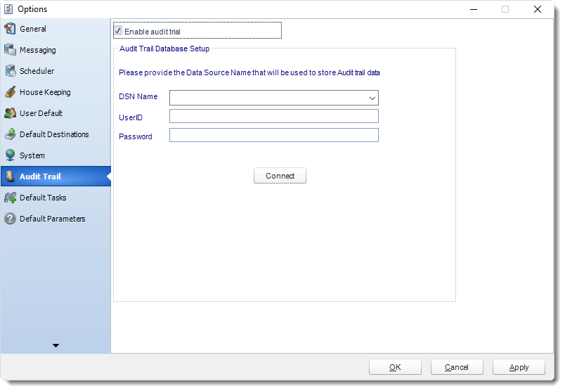 MS Access: Audit Trail in Options in MARS.
