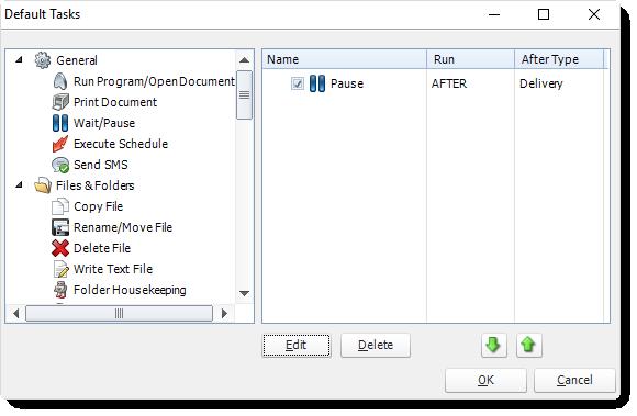 MS Access: Default Tasks in MARS.