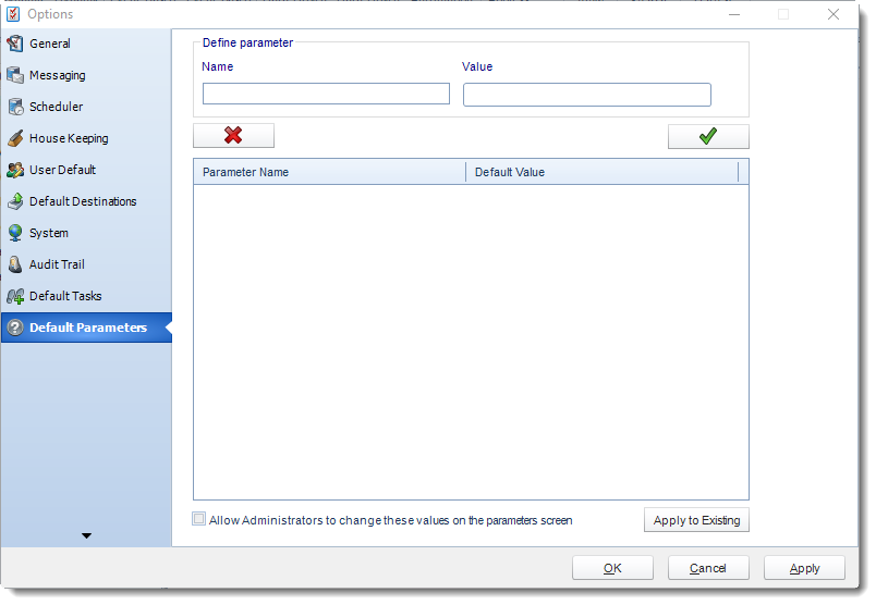 MS Access: Default Parameters section in Options in MARS.