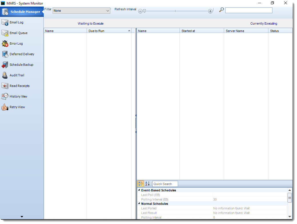 MS Access: Scheduler Manager in System Monitor in MARS.
