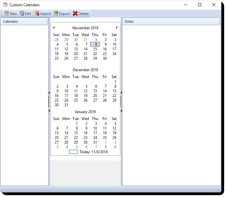 MS Access: Custom Calendars in MARS.