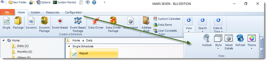 MS Access: MARS Home Menu.