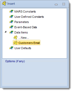 MS Access: Insert Constants Menu in MARS.