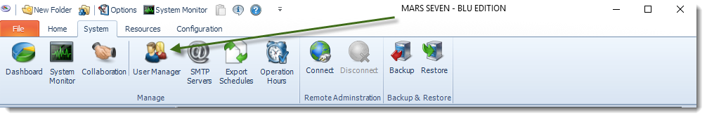 MS Access: MARS System Menu.