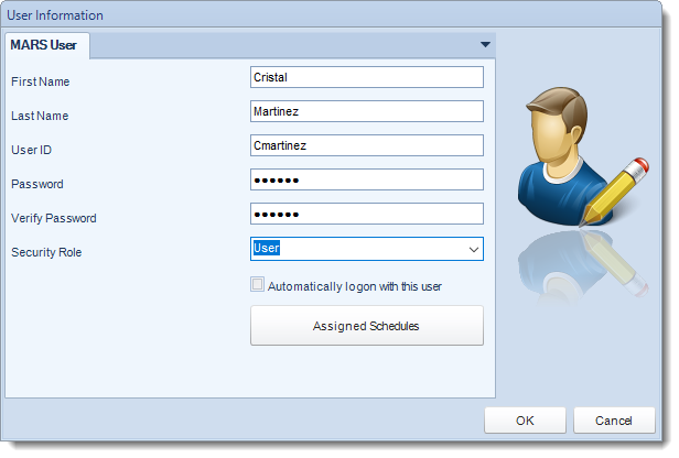 MS Access: User Information in User Manager in MARS.