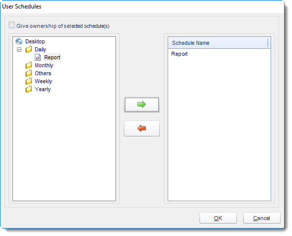 MS Access: User Schedule in User Manager in MARS.
