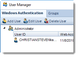MS Access: User Manager in MARS.