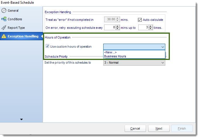 MS Access: Using Operational Hours in Event Based Schedule in MARS.