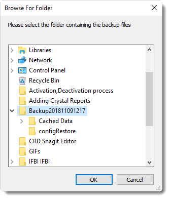 MS Access: Browser for Restore folder in MARS.