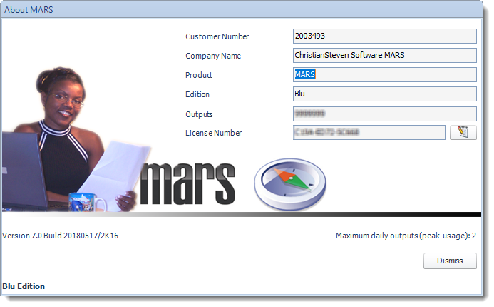 MS Access: About MARS Screen in MARS.