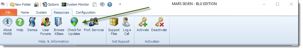 MS Access: MARS Resources Menu.