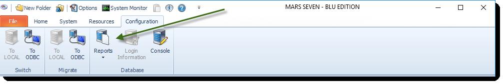 MS Access: MARS Configuration Menu.