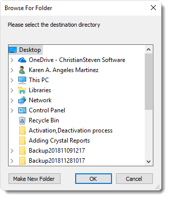 MS Access: Disk Destination in MARS.
