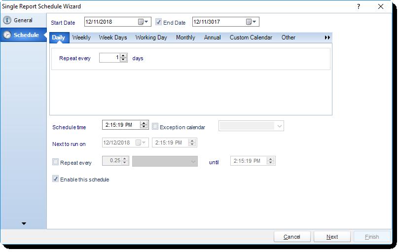 MS Access: Schedule Wizard in Single Report Schedule in MARS.