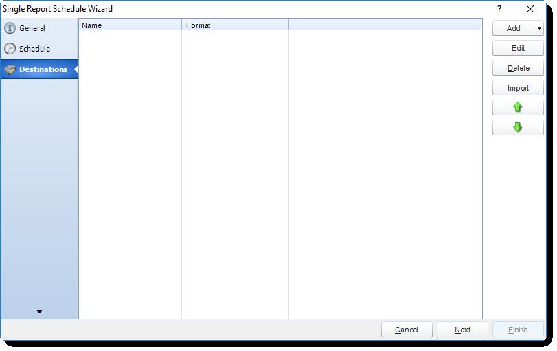 MS Access: Destination Wizard in Single Report Schedule in MARS.