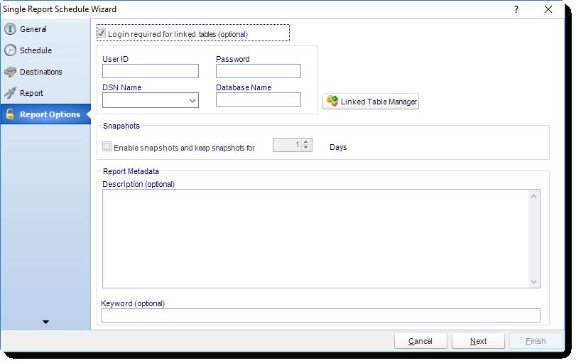 MS Access: Report Options Wizard in Single Report Schedule in MARS.