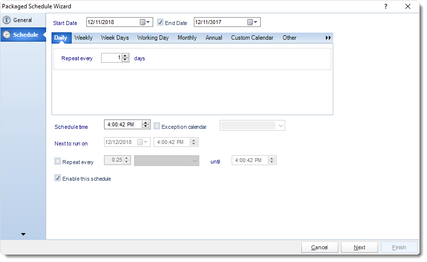 MS Access: Schedule Wizard in Package Schedule in MARS.