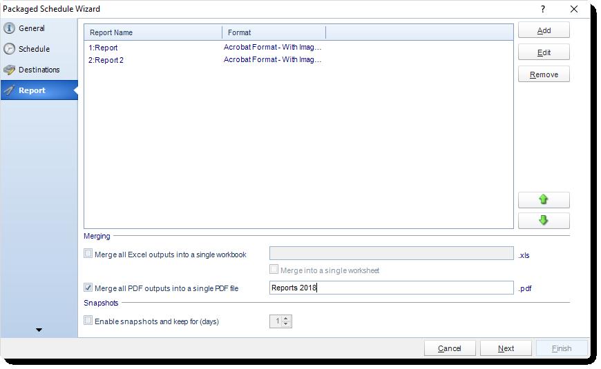 MS Access: Report Wizard in Package Schedule in MARS